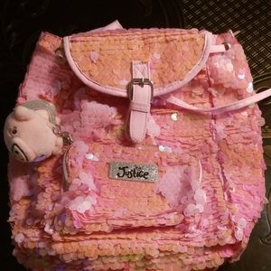JUSTICE Pink Sequin Back pack with angel pig clip